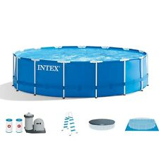 "Intex 18' x 48"" Metal Frame Above Ground Swimming Pool Set w/ Pump Ladder Cover"