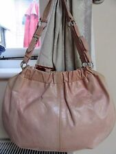 Med Size MAURIZIO TAIUTI Italian Nude Leather Two Strap Shoulder Bag