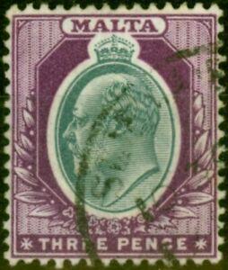 Malta 1903 3d Grey & Purple SG42Var 'Broken Crown' Fine Used