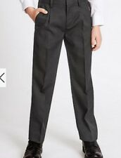 MARKS AND SPENCER GREY Boys Wool Blend SCHOOL Trousers Supercrease 15-16 W31.5