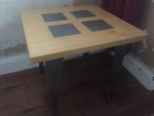 Designer Lamp Table Solid Maple / Stainless Steel Inserts/ Legs