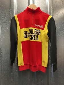 Vintage Campagnolo Raleigh Creda 80s Red Yellow Black Long Sleeve Cycling Jersey