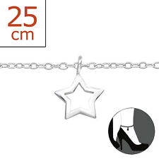 22cm Expandable to 25cm Cute Design Tjs 925 Sterling Silver Anklet Hollow Star