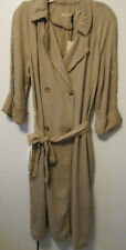 "$115 Max Jeans ""Natural Mink"" Beige Dbl Breasted Tencel Long Jacket Coat M NWT"