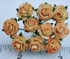 "Mulberry Paper Flower Tiny Rose Picotee Light Apricot 5/8"" 15mm miniature orange"