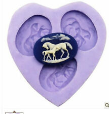 3-Cavity Horse Polymer Clay Mold Fondant Mold Flexible Silicone Chocolate F0117