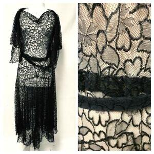 Antique/Vintage Titanic Deco Flapper Sheer Floral Black Lace Dress Gown/Jacket