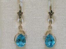 Blautopas Ohrhänger 585 Gelbgold 14Kt Gold natürliche beh Blautopase Brillanten