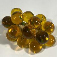 """Vtg 60s MCM Lucite Grape Cluster on Driftwood Amber Orange 6"""""""