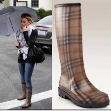 $429 Burberry Classic Tan Plaid Rubber Mid Calf Rain Boots 35 5 4.5