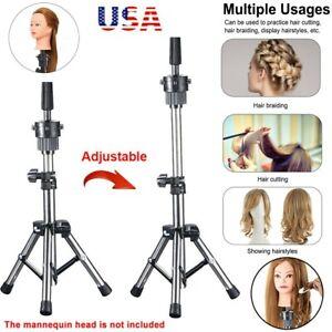 Wig Holder Stand Adjustable Tripod Manikin Mannequin Head Hairdressing Training