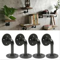 4Pcs Industrial Wall Mounted Iron Pipe Shelf Bracket Floating Shelf Holder Black