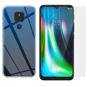 For MOTOROLA MOTO G9 PLAY CLEAR CASE + TEMPERED GLASS SCREEN PROTECTOR COVER G 9