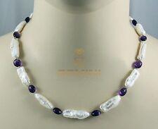 Weiße Süßwasser Perlenkette mit lila Amethyst Halskette für Damen