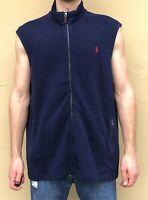 NWT $85 Polo Ralph Lauren Men's Sz XL Navy Blue Full Zip Cotton Sweater Vest NEW