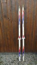 "Vintage Skis 72"" Long Original Red Blue Finish Great for Decoration"