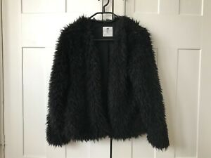 Girls H&M black fluffy faux fur coat jacket 14 yrs + wedding party