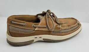 Thom McAn Mens Size 8M Brown Kellan3 Leather Lace Up Dock Boat Shoes