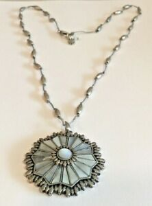 LUCKY BRAND MOTHER OF PEARL MEDALLION PENDANT SILVERTONE NECKLACE 24""