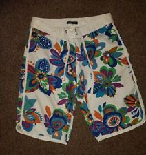 NEW LADIES BLUE KISS WHITE FLORAL BEACH LONG BOARD SHORTS SUMMER SIZE L UK 12