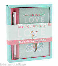 A6 hardback Notebook & Pen GIFT SET All you need is Love Travel Journal Diary