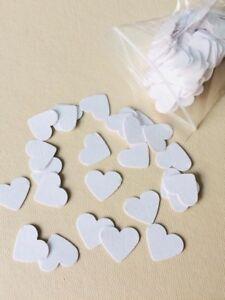 600 white hearts linen card making decoration diy wedding invitation confetti