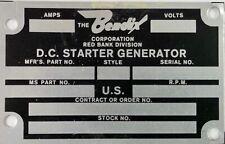 Bendix D.C. Aircraft Starter Generator Data Plate, Aviation DPL-0109