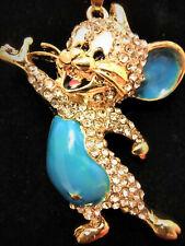 BLUE Betsey Johnson Rhinestone Enamel Mouse Crystal Pendant Chain Necklace