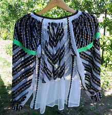 vintage folk beads embroidered Romanian traditional blouse handmade motifs
