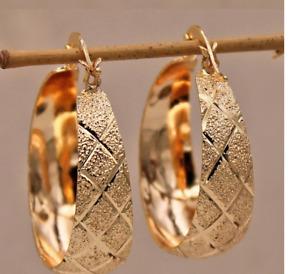 Luxurious Trendy Hoop Earrings for Women Gold Filled Convex Women Pageant Ear