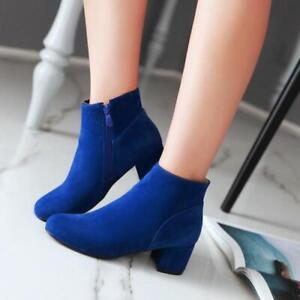 New Women's Ladies Faux Suede Block Heels Round Toe Zipper Ankle Boots Shoes