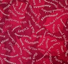 West Virginia Mountain Quilt Quest by Shop Hop Quilting Treasures Red Blue Word