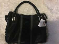 Jessica Simpson Claireen Black Blue Faux Fur Leather Shoulder Bag new