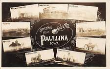 F1/ Paullina Iowa RPPC Postcard 1910 9View Bank Hotel Factory School +