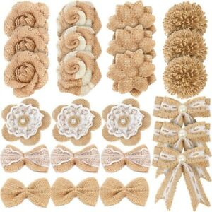 24Pcs Burlap Flowers,8 Styles Natural Handmade Rustic Rose Flower Bowk With X9Y3