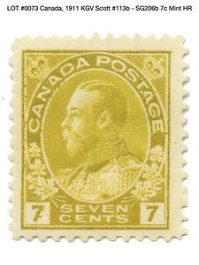 0073: Canada, 1911 KGV Scott #113b - SG206b 7c Mint HR