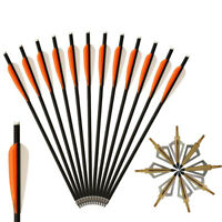 """Details about  /12pcs 20/"""" Carbon Crossbow Bolts Hunting Archery 20 Inch Arrows with 4 Inch Vanes"""
