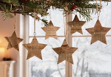 Hänger Holz Sterne Pinienholz Winter Deko Holz Advent Weihnachten 6 Stück im Set