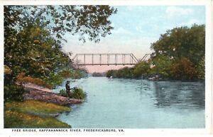 1919 FREDERICKSBURG VA - Free Bridge, Rappahannock River in color