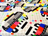 TV Test Carte Coton Popeline Tissu Matériel - Enfants Rideaux Robe - 150cm Large