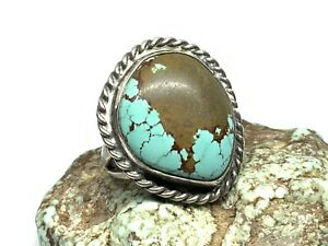 Old Pawn Navajo Sterling Silver Boulder Turquoise Stone Large Ring (Sz. 6)