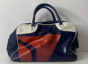 Delta Vintage blue white leather tote carry on travel bag A10