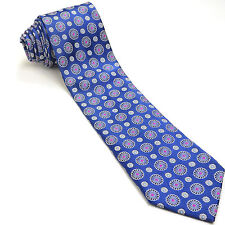 ERMENEGILDO ZEGNA 59L Navy Blue Fuchsia Gray Black Geometric Silk Mens Neck Tie
