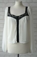 River Island White With Black Lace Trim Vintage Style Blouse Size 8