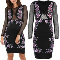 Womens Ladies Floral Fishnet See Through Long Sleeve Bodycon Party Mini Dress