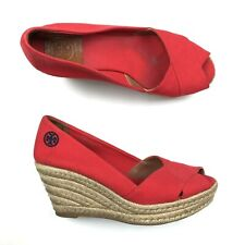 Tory Burch Wedge Heels Filipa Red size 8 Espadrille Platform Canvas Logo Shoes