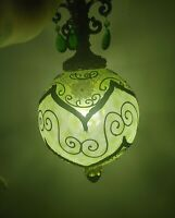 "Rare L&L WMC ""Loevsky"" Green Gilded Lamp_ 24""High/ 36""around/15' Chain!20' Cord!"