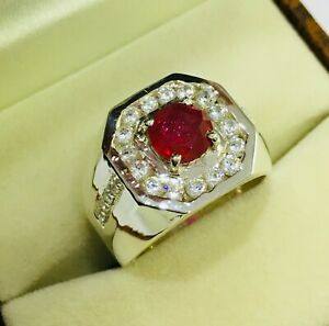 Natural Ruby Gemstone with 925 Sterling Silver Ring for Men's ###