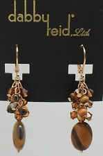 DABBY REID NEW Tiger Eye Swarovski Crystal Drop Earrings RML 8183G Y14