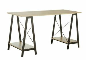 Home Trestle Table Office Desk - Oak effect